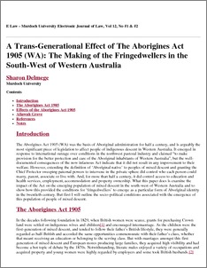 The aborigines act of 1905 essay